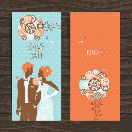 Wedding invitation card. Vintage illustration with newlyweds Stock Vector - 20028087