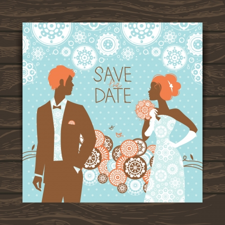 Wedding invitation card. Vintage illustration with newlyweds Stock Vector - 20028091