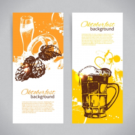 beer festival: Banners of Oktoberfest beer design. Hand drawn illustrations. Splash blob backgrounds