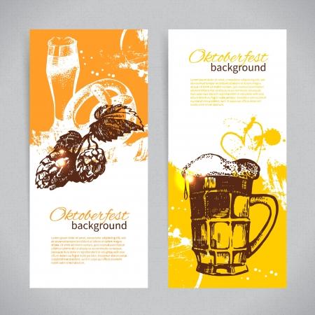 bier festival: Banners of Oktoberfest beer design. Hand drawn illustrations. Splash blob backgrounds