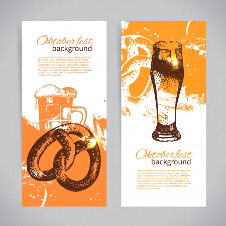 Banners of Oktoberfest beer design. Hand drawn illustrations. Splash blob backgrounds Vector
