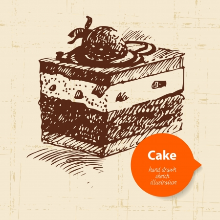 Vintage sweet cake background with color bubble. Hand drawn illustration Stock Vector - 20027440