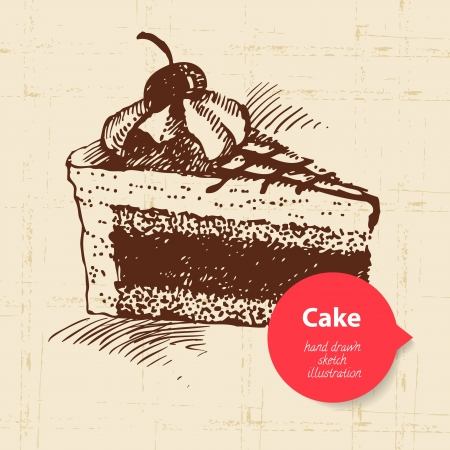 Vintage sweet cake background with color bubble. Hand drawn illustration Vector