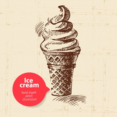 Vintage sweet ice cream background with color bubble. Hand drawn illustration Vector