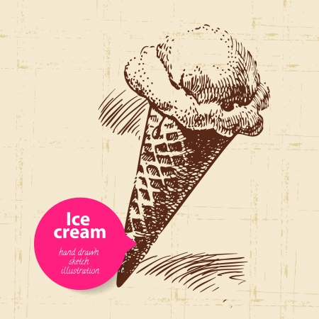 ice cream: Vintage sweet ice cream background with color bubble. Hand drawn illustration Illustration