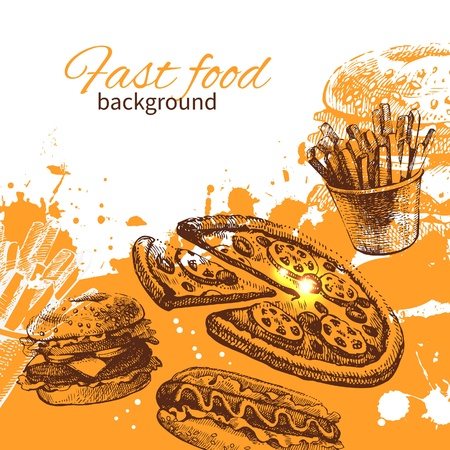 dog food: Vintage fast food background. Hand drawn illustration