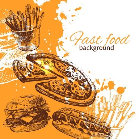 pizza background: Vintage fast food background. Hand drawn illustration