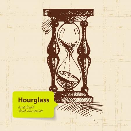 reloj de pendulo: Reloj de arena reloj de la vendimia. Dé la ilustración exhausta