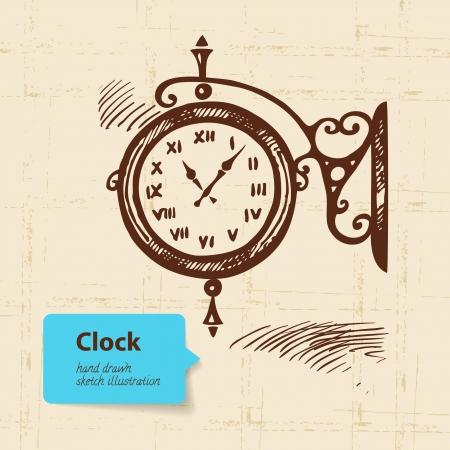 Vintage street clock. Hand drawn illustration  Vector