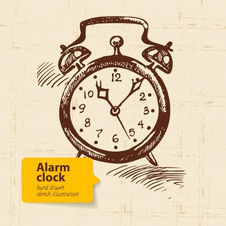 Vintage alarm clock. Hand drawn illustration  Vector