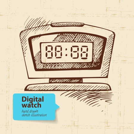 Vintage digital watch. Hand drawn illustration Stock Vector - 20472580