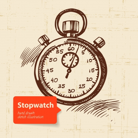 Vintage stopwatch. Hand drawn illustration  Vector