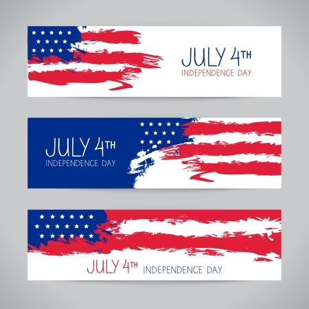 july: Banners with american flag. Independence Day design
