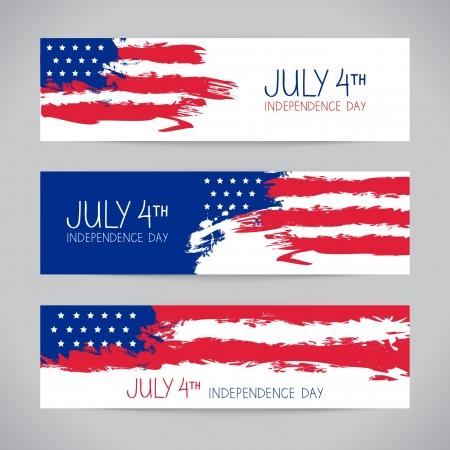 fourth of july: Striscioni con bandiera americana. Design Giorno dell'Indipendenza Vettoriali