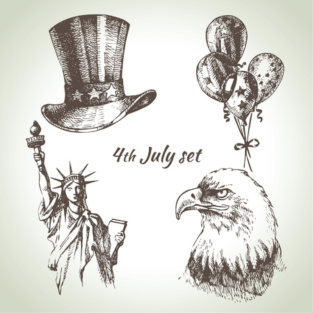 statue of liberty: 4th of July set. Hand drawn illustrations of Independence Day of America