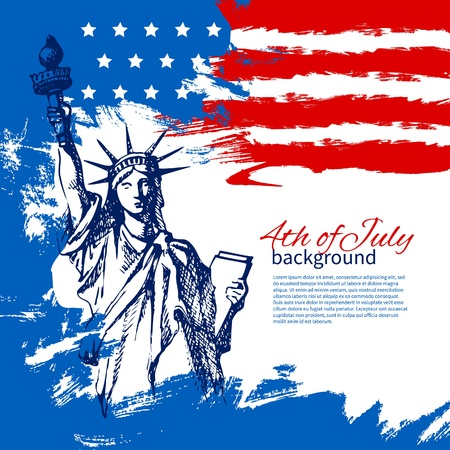 アメリカ国旗を持つ 7 月背景の 4。独立記念日ヴィンテージ手描きデザイン  イラスト・ベクター素材