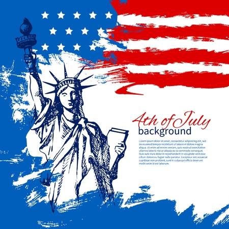 7 월 4 일 미국 국기와 배경입니다. 독립 기념일 빈티지 손으로 그린 디자인 일러스트
