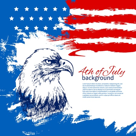 4th of July background with American flag. Independence Day vintage hand drawn design Vector