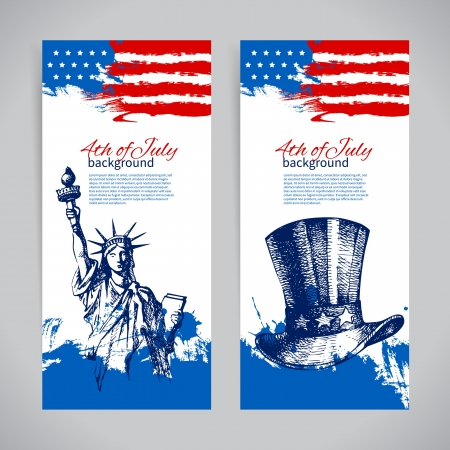 4th of july: Banners of 4th July backgrounds with American flag. Independence Day vintage hand drawn design