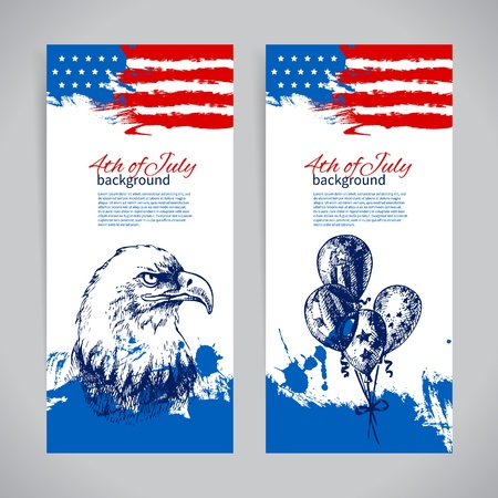 us grunge flag: Banners of 4th July backgrounds with American flag. Independence Day vintage hand drawn design Illustration