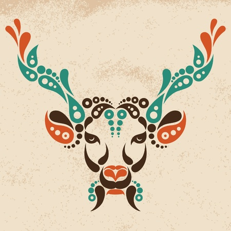 fantasy art: Deer tattoo, symbol decoration illustration. Pattern in shape of deer