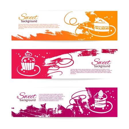 Set of vintage bakery banners with cupcakes. Menu for restaurant and cafe Vector