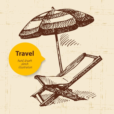 Vintage travel background with beach armchair and umbrella. Hand drawn illustration  Vector