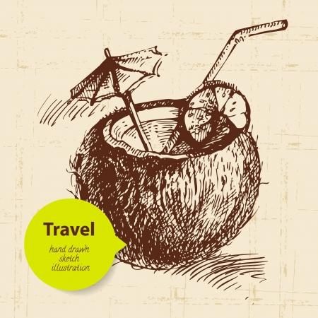 ココのカクテルとビンテージ旅行背景。手描きイラスト