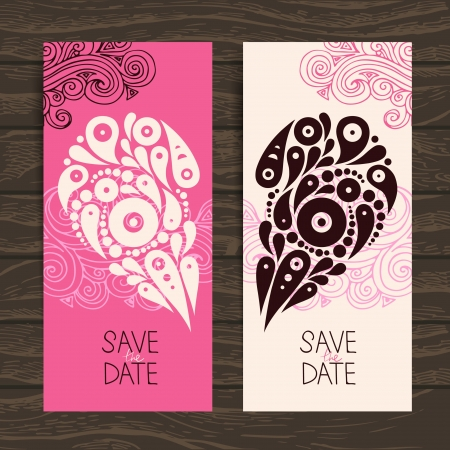 Wedding invitation card with decorative stylish heart  Stock Vector - 20472631