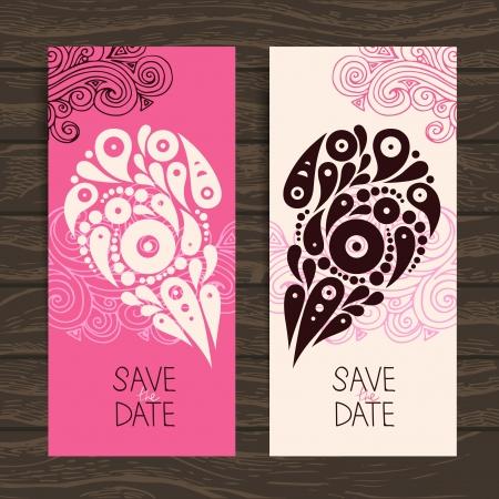 Wedding invitation card with decorative stylish heart Stock Vector - 20472631
