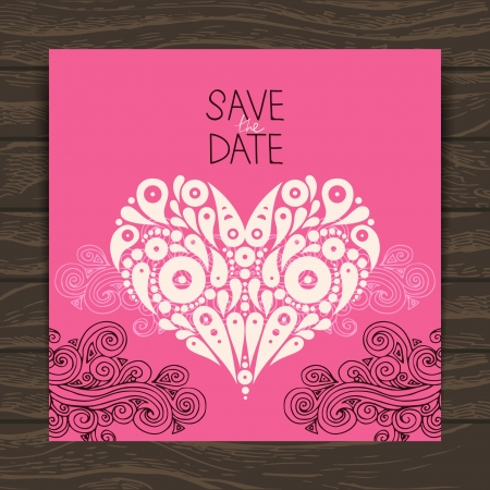 Wedding invitation card with decorative stylish heart Stock Vector - 20472625