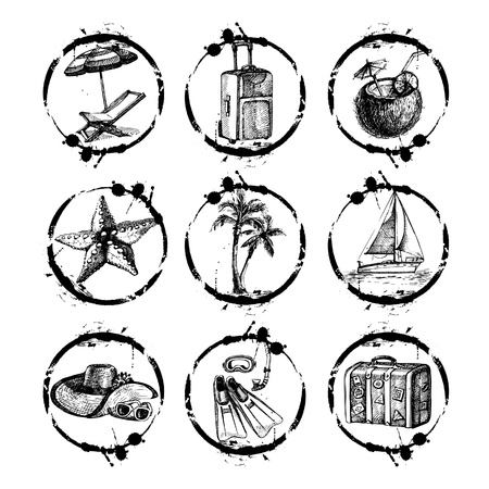 beach bag: Travel and vacation stamp collection - for your design, scrapbook - in vector. Black and white travel set with hand drawn illustrations