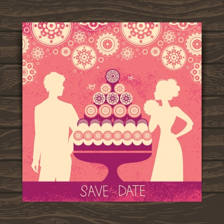 Wedding invitation card. Vintage illustration with newlyweds silhouettes and cake Vector
