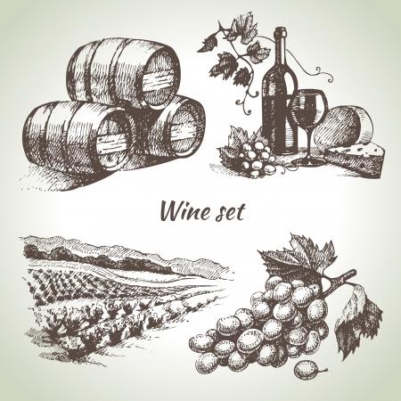 手描きベクトル ワイン セット