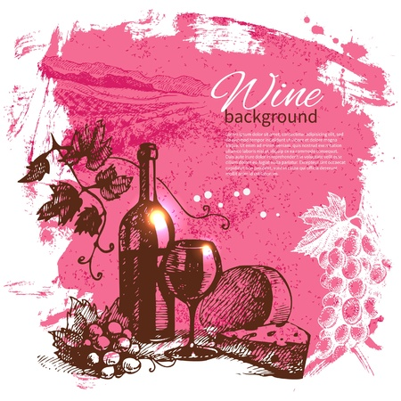 Wine vintage background. Hand drawn illustration. Splash blob retro design  Stock Vector - 20472644