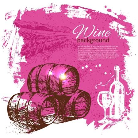 wine and cheese: Wine vintage background. Hand drawn illustration. Splash blob retro design
