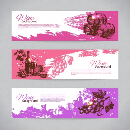 vinos y quesos: Banners de vino cosecha de fondo. Ilustraciones drenadas mano