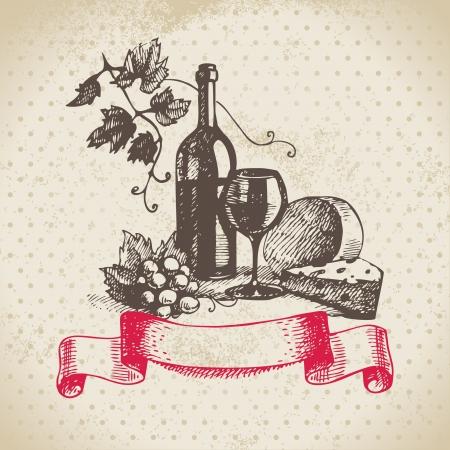 kaas: Wijn vintage achtergrond. Hand getrokken illustratie