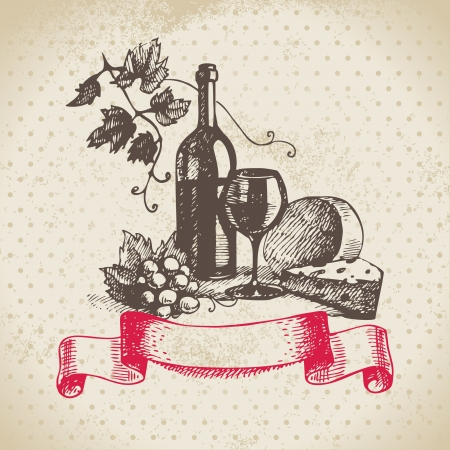 glass with red wine: Wine vintage background. Hand drawn illustration