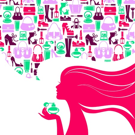 infogaphics: Beautiful woman silhouette with fashion icons. Shopping girl. Elegant stylish sale design