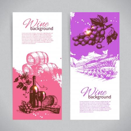 Banners de vino cosecha de fondo. Dibujado a mano ilustraciones.