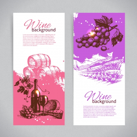 Banners of wine vintage background. Hand drawn illustrations.  Vector