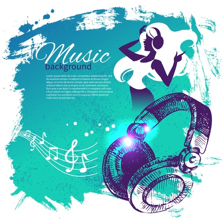 headphones woman: Music background with hand drawn illustration and dance girl silhouette. Splash blob retro design