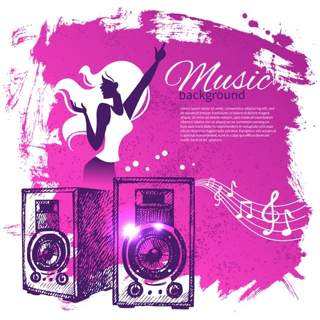 disco speaker: Music background with hand drawn illustration and dance girl silhouette. Splash blob retro design