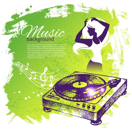 speakers: Music background with hand drawn illustration and dance girl silhouette. Splash blob retro design