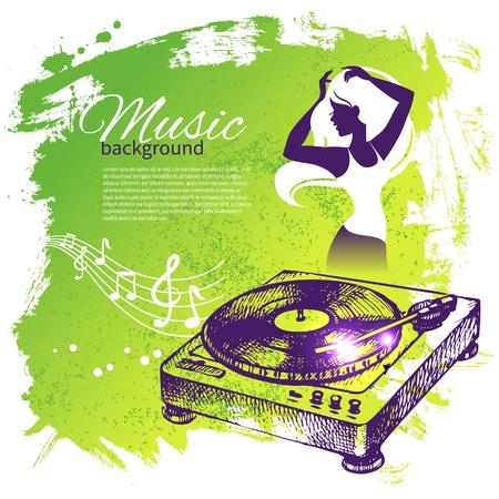metaal: Muziek achtergrond met de hand getekende illustratie en dans meisje silhouet. Splash blob retro design Stock Illustratie