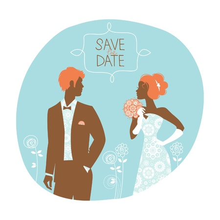 Wedding invitation card. Vintage illustration with newlyweds Stock Vector - 20913269