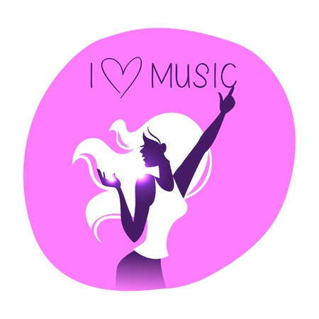 headphones woman: Disco background with dance music girl silhouette Illustration