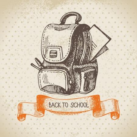 estudiante: Vector de fondo antiguo con la mano dibujada de nuevo a la ilustración de la escuela