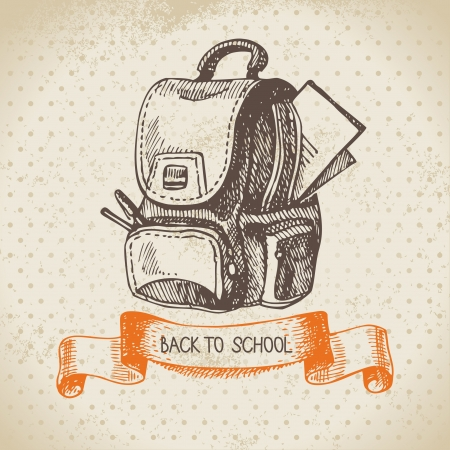 backpack school: Vintage vector background with hand drawn back to school illustration